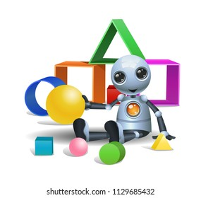 illustration of a happy droid little robot plays boxes on isolated white background
