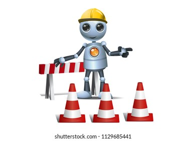 illustration of a happy droid little robot on under construction site on isolated white background