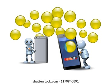 illustration of a happy droid little robot using new  technology smart phone sharing mobile bubble data applications on isolated white background