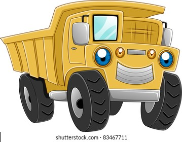 Illustration of a Happy Dump Truck