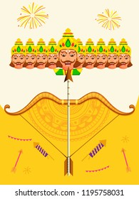 Illustration Of Happy Dussehra With Ravana With Ten Heads.