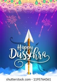 Illustration Of Happy Dussehra With Ravana With Ten Heads.