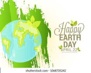 Illustration Of Happy Earth Day Poster or Banner Background.
