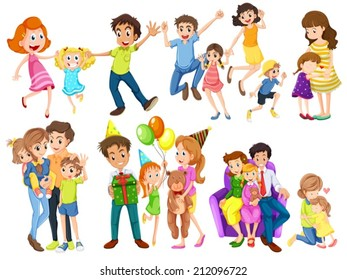 Illustration of the happy families on a white background