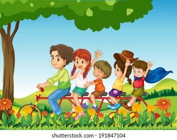 Illustration of a happy family biking