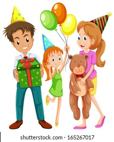 Illustration of a happy family celebrating a birthday on a white background