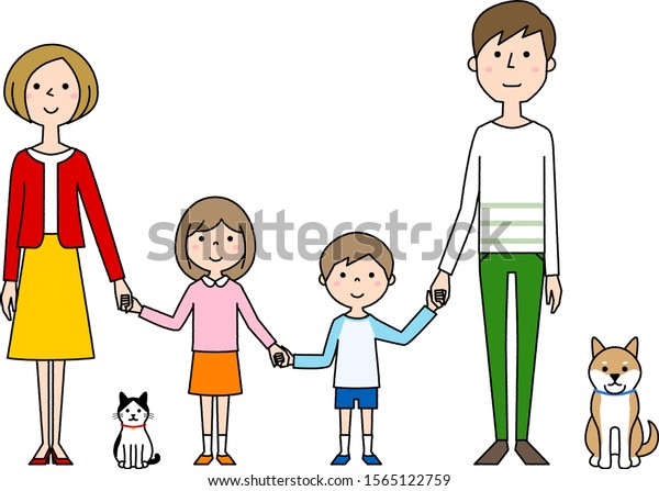 Illustration of a happy family holding hands.