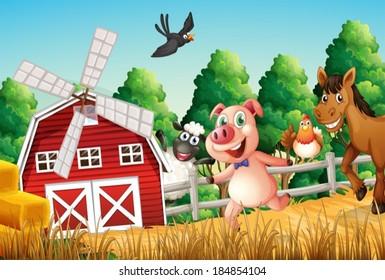 Illustration of happy farm animals