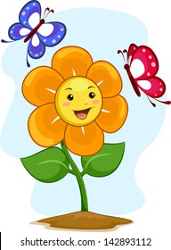 Illustration of Happy Flower Mascot with Butterflies