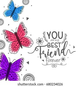 Illustration Of Happy Friendship Day, Best Friends Forever Typographic Greeting Card Design.
