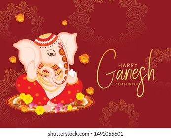 Illustration Of Happy Ganesh Chaturthi Celebration Background.