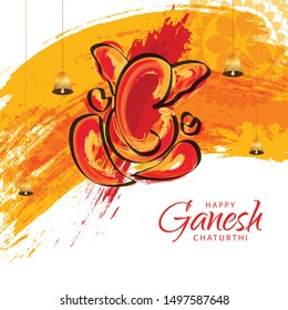 Illustration Of Happy Ganesh Chaturthi Celebration Background.
