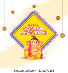Illustration Of Happy Ganesh Chaturthi Greeting Card,easy To Edit.