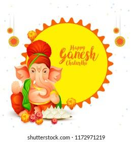 Illustration Of Happy Ganesh Chaturthi Greeting Card,easy To Edit.