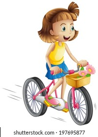 Illustration of a happy girl riding a bike on a white background
