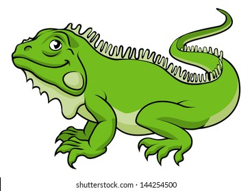 An illustration of a happy green cartoon Iguana lizard
