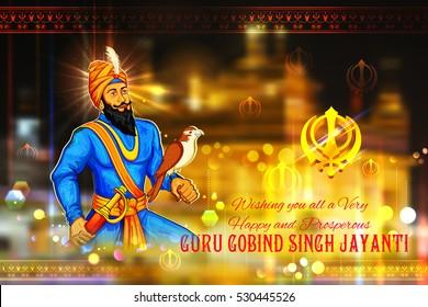 illustration of Happy Guru Gobind Singh Jayanti festival for Sikh celebration background