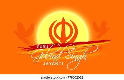 Illustration of Happy Guru Gobind Singh Jayanti Festival For Sikh Celebration.