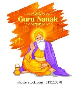illustration of Happy Guru Nanak Jayanti festival of Sikh celebration background
