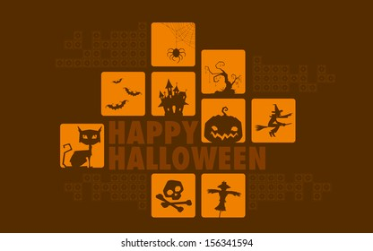 illustration of Happy Halloween collage background