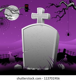 illustration of Happy Halloween in tomb stone in scary night