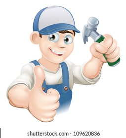 Illustration of a happy handyman, builder, construction worker or carpenter in work clothes holding a hammer and giving thumbs up