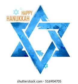 illustration of Happy Hanukkah, Jewish holiday background with hanging star of David