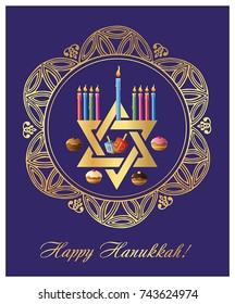 Illustration of Happy Hanukkah - jewish holiday