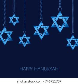 illustration of Happy Hanukkah, Jewish holiday background with hanging star of David