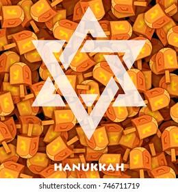 illustration of Happy Hanukkah, Jewish holiday background with dreidel