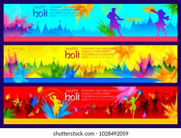 illustration of Happy Holi Background  for Festival of Colors celebration greetings