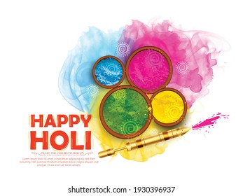 illustration of Happy Holi Colorful Background for Festival of Colors celebration in Hindi Holi Hain