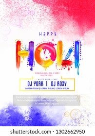 illustration of Happy Holi poster,invitation card and colorful background with realistic powder paint  and calligraphic text