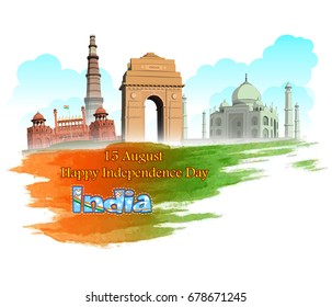 illustration of happy independence day india wavy Indian flag with monument