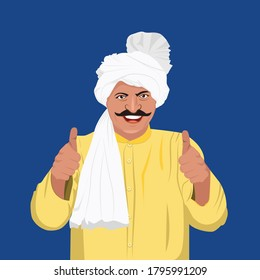Illustration of a Happy Indian Farmer thumbs up. Rural India