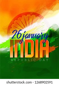 Illustration of Happy Indian Republic day celebration poster or banner background. - Vector