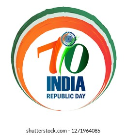 Illustration of Happy Indian Republic day celebration poster or banner background with text 26 January and Indian Flag .