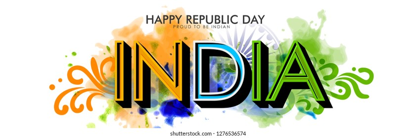 Illustration of Happy Indian Republic day poster on indian background concept with text 26 January.