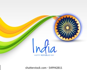 Illustration of Happy Indian Republic day celebration poster or banner background.