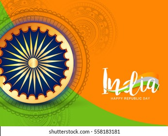 Illustration of Happy Indian Republic day poster or banner background.