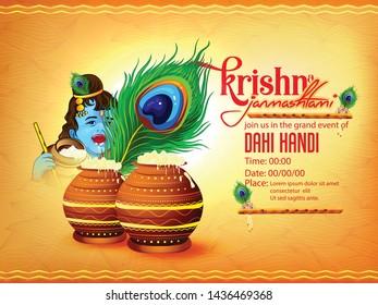 illustration of Happy Janmashtami festival of India, Lord Krishna playing bansuri , with background, banner,poster