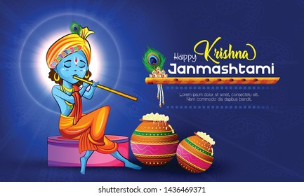 illustration of Happy Janmashtami festival of India, Lord Krishna playing bansuri , with background, banner,poster