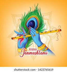 illustration of Happy Janmashtami festival  Lord Krishna playing bansuri in religious indian festival background