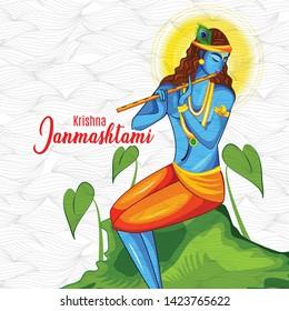 illustration of Happy Janmashtami festival  Lord Krishna playing bansuri in religious indian festival background