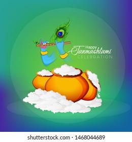 illustration of Happy Janmashtami, Lord Krishna playing bansuri
