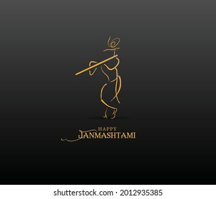 illustration of happy Janmashtami. Lord Krishna