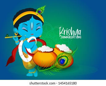 illustration of  happy Janmashtami, most important Hindu festivals,