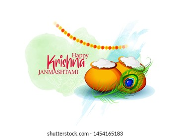illustration of  happy Janmashtami, most important Hindu festivals,
