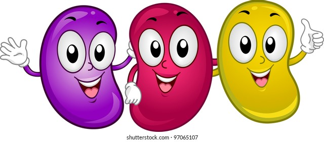 Illustration of Happy Jellybean Mascots