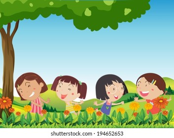 Illustration of the happy kids playing outdoor near the blooming flowers